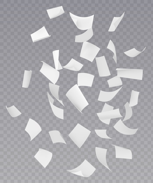 Chaotic falling flying paper sheets Free Vector