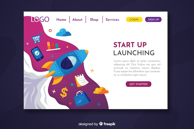 Chaotic start up landing page with different objects Free Vector