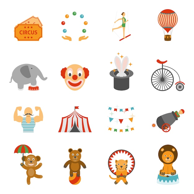 Chapito circus icons set flat Free Vector