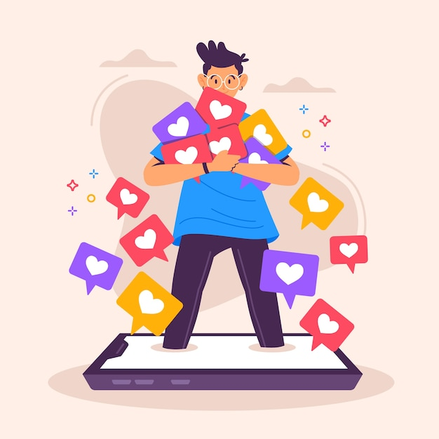 Character addicted to social media Free Vector
