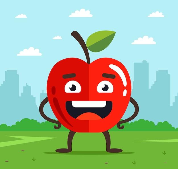 Характер яблоко с лицом. плод упал с дерева на траву. городской пейзаж Premium векторы