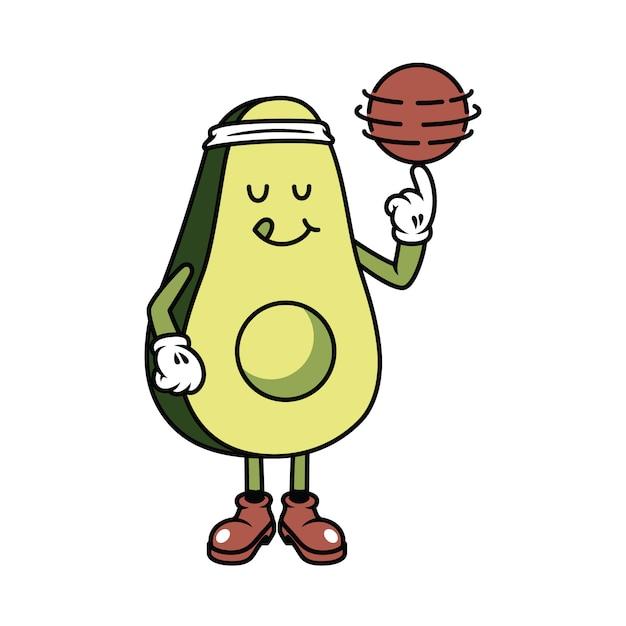 Character avocado playing ball graphic illustration Premium Vector