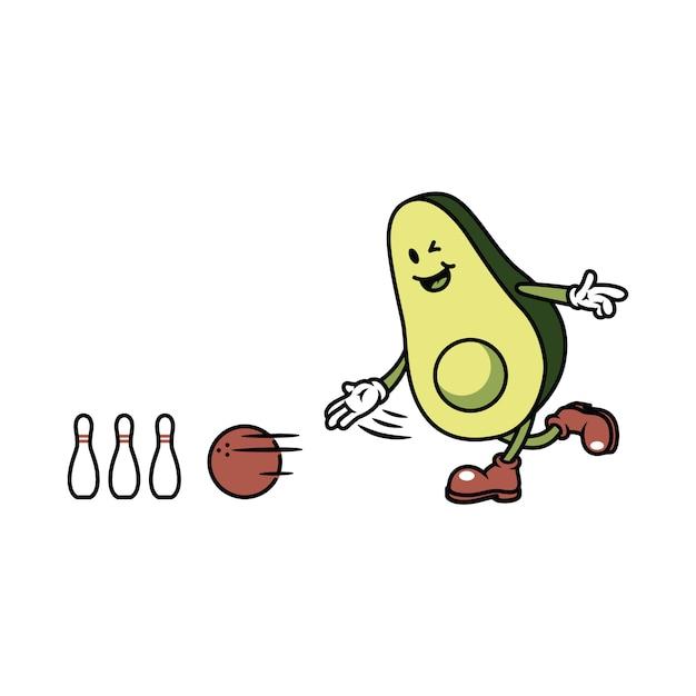 Character avocado playing bowling illustration Premium Vector