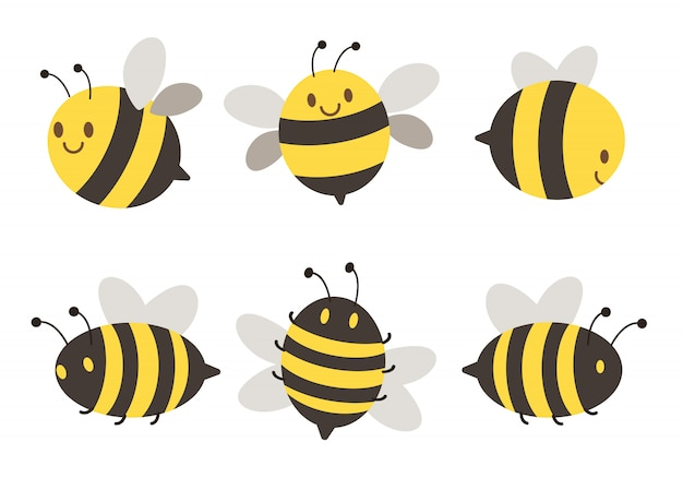 Character bee set Premium Vector