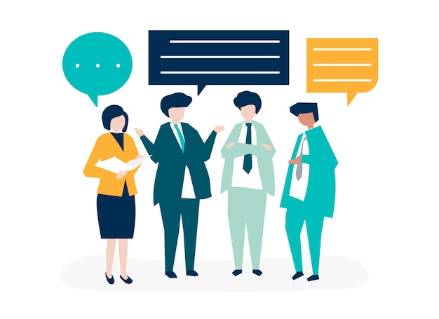 Character of business people having a discussion Free Vector