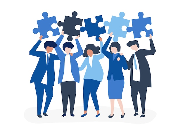 Character of business people holding puzzle pieces Free Vector
