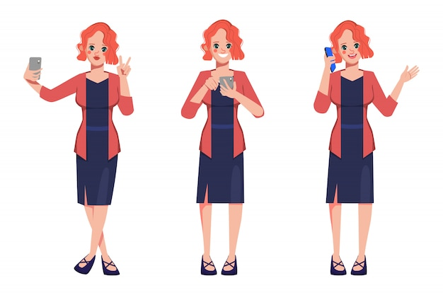 Character businesswoman pose set with mobile phone. Premium Vector