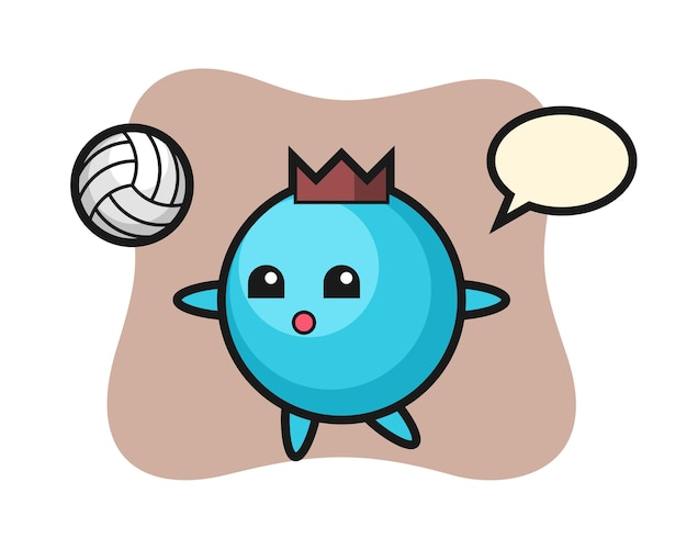 Premium Vector Character Cartoon Of Blueberry Is Playing Volleyball