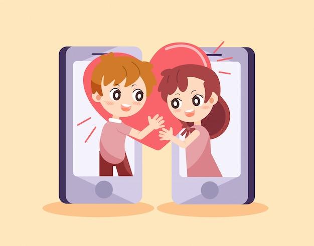 Character cartoon couple of love Premium Vector