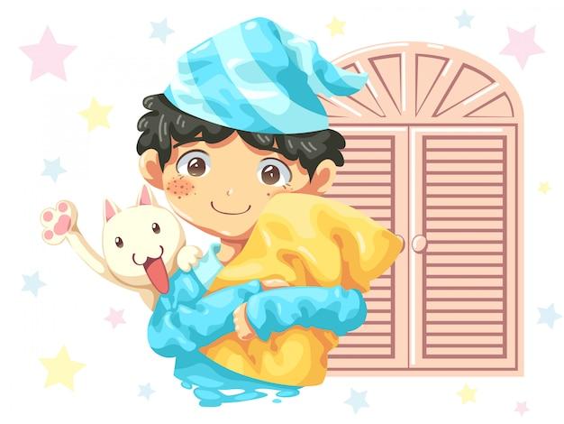 Character cartoon design of boy wearing pajamas and cat Premium Vector
