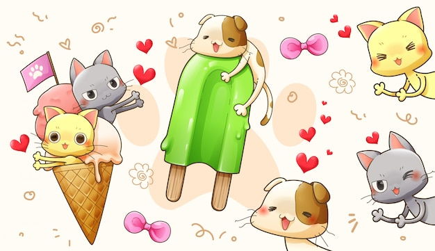 Character cartoon design of cute cat in love – vector Premium Vector