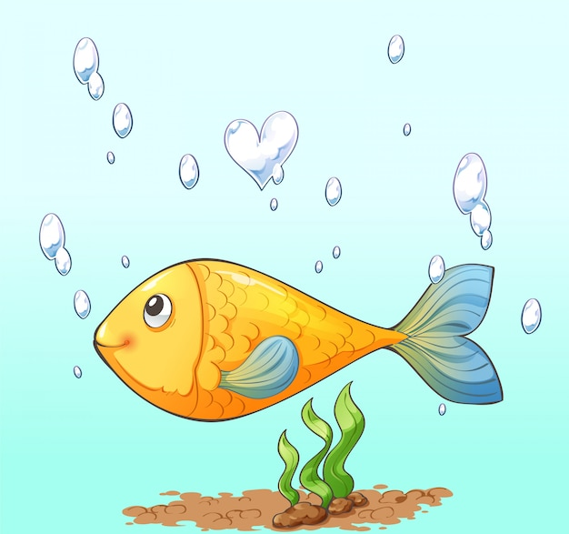 Character cartoon design of fish, air bubble and seaweed Premium Vector