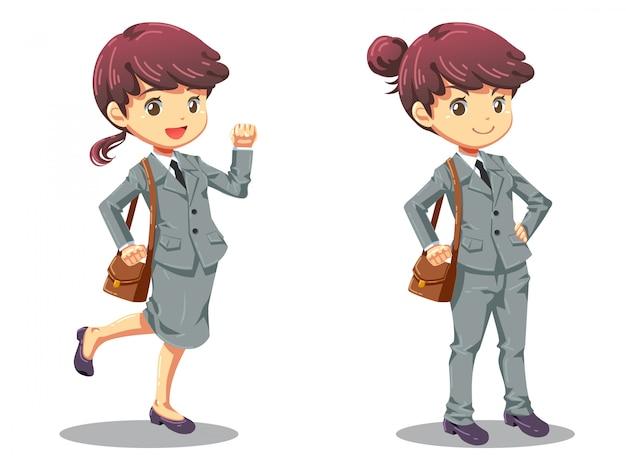 Character cartoon design of strong office girl Premium Vector