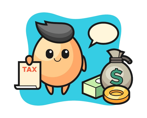 Character cartoon of egg as a accountant, cute style design for t shirt, sticker, logo element Premium Vector