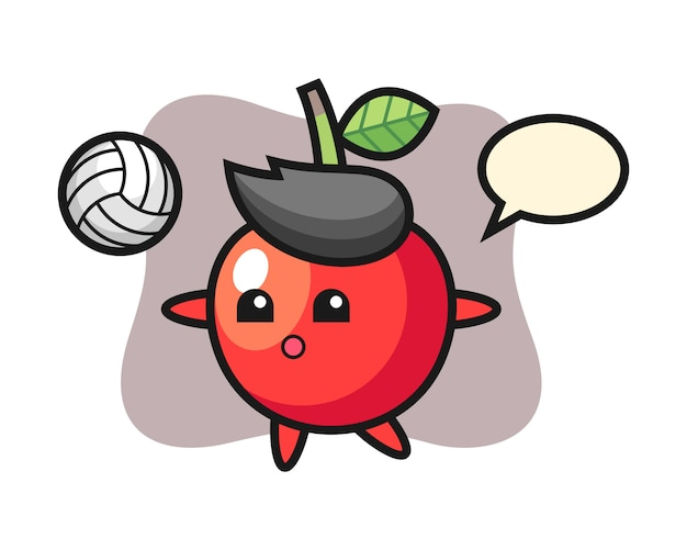 Персонаж мультфильма из вишни играет в волейбол, милый дизайн стиля Premium векторы