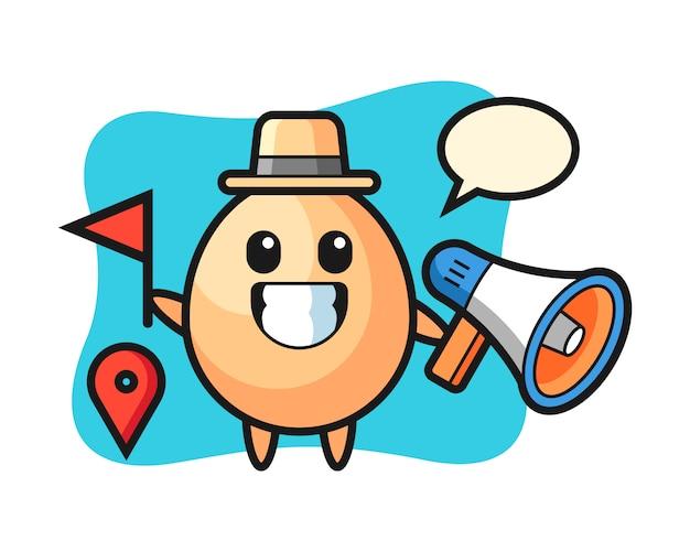 ツアーガイドとしての卵のキャラクター漫画、tシャツ、ステッカー、ロゴ要素のかわいいスタイルのデザイン Premiumベクター