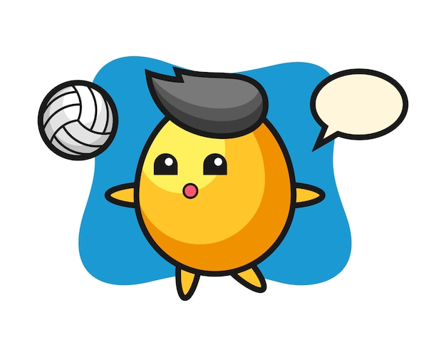 Персонаж мультфильма золотое яйцо играет в волейбол, милый стиль дизайна Premium векторы