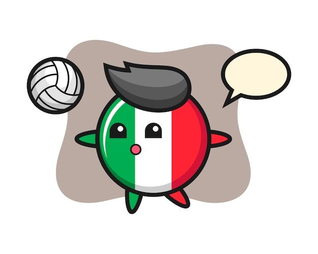Персонаж мультфильма значка флага италии играет в волейбол, милый стиль, наклейка, элемент логотипа Premium векторы