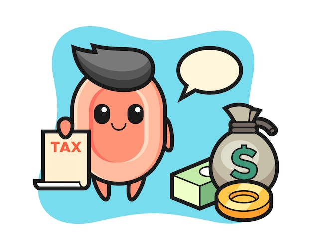 Character cartoon of soap as a accountant, cute style  for t shirt, sticker, logo element Premium Vector