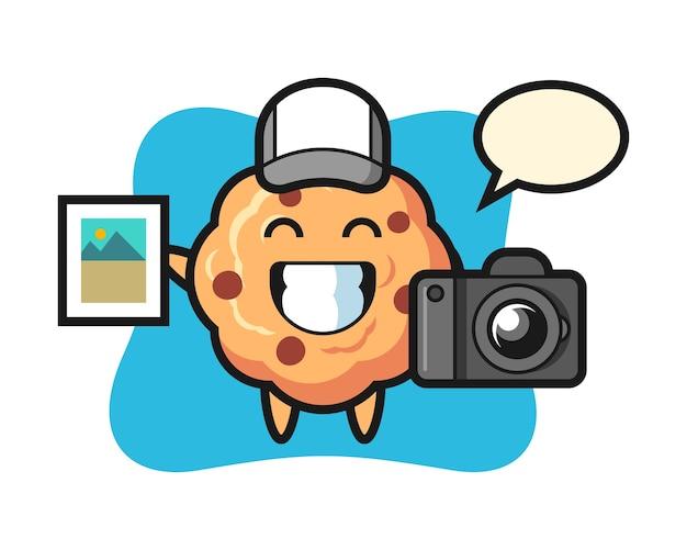 写真家としてのキャラクターチョコレートチップクッキー Premiumベクター