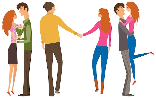 Character couple set with flat design style Premium Vector
