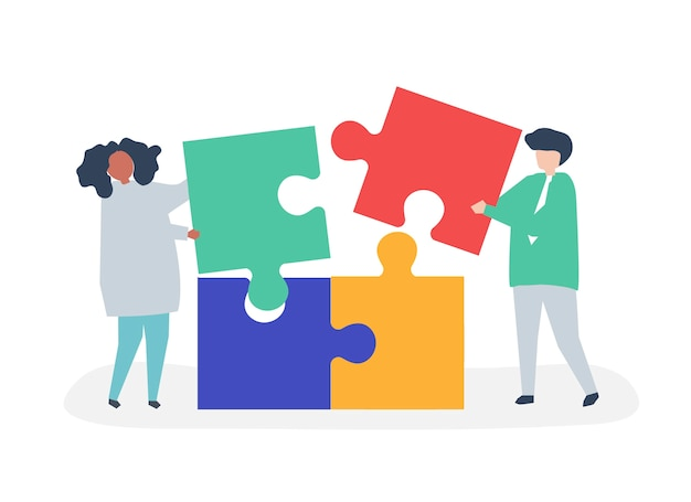 Character of a couple solving puzzle pieces illustration Free Vector