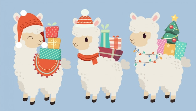 The character of cute alpaca wear a red hat and his back have a many gift box Premium Vector