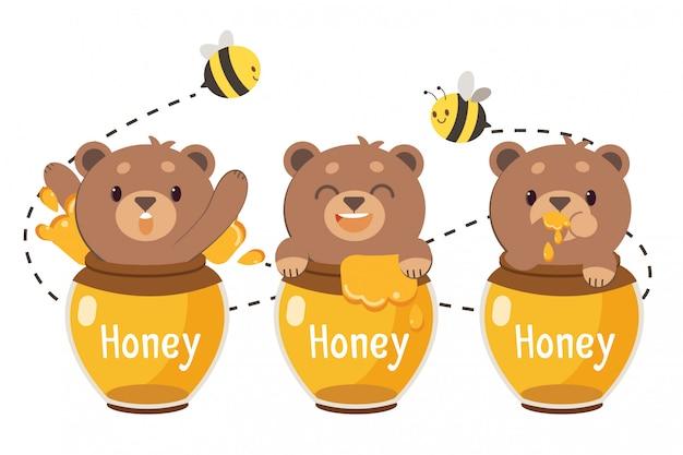 The character of cute brown teddy bear in the honey jar. Premium Vector