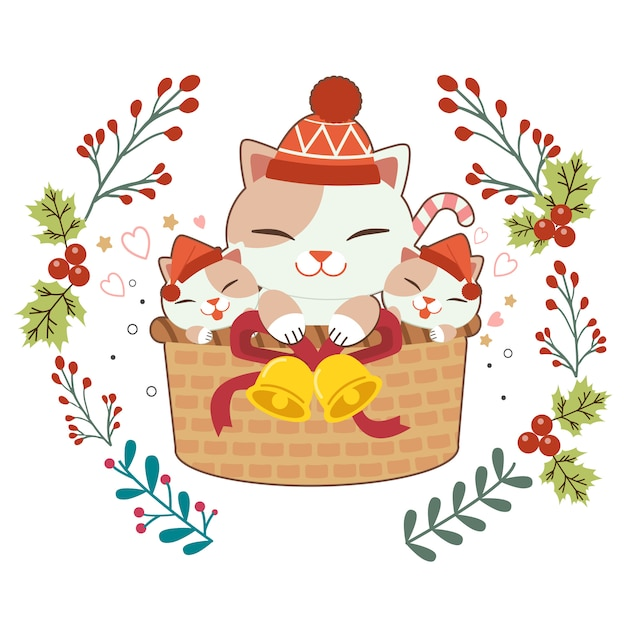 Character of cute cat and baby cats sitting in the basket Premium Vector