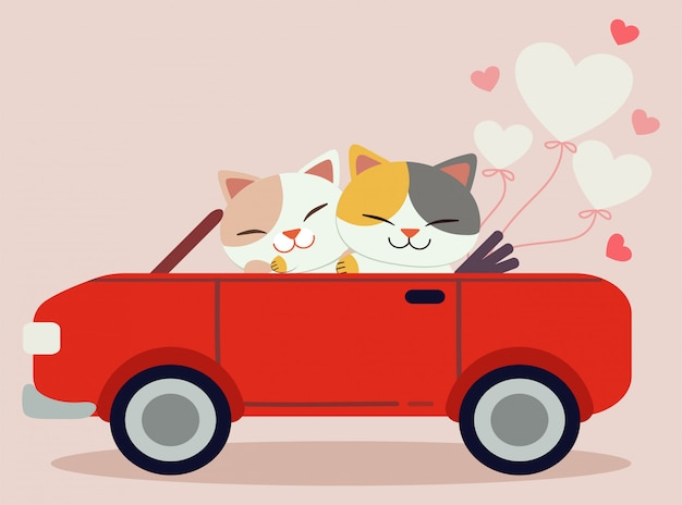The character of cute cat driving a car with heart balloon in the pink background. Premium Vector