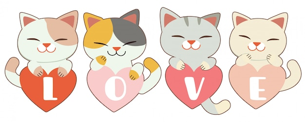 The character of cute cat garps the heart on white Premium Vector