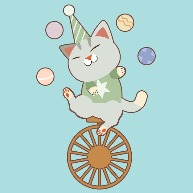 Character of cute cat playing a balls and sitting on one wheel bycicle. Premium Vector