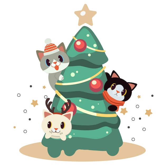 The character of cute cat playing with christmas tree. Premium Vector