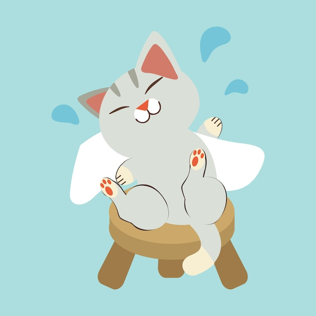 The character of cute cat rub the body dry with white towel. the cat sitting on the short chair. the cat smiling and it look happy and relaxing Premium Vector