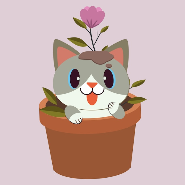 The character of cute cat sitting in the plantpot with flower on the purple background. the cute cat playing with the flower in the plant pot. the character of cute cat in flat  style. Premium Vector