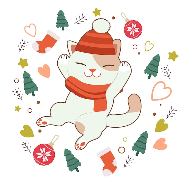 The character of cute cat sleeping with christmas tree and ball and sock and star and heart Premium Vector
