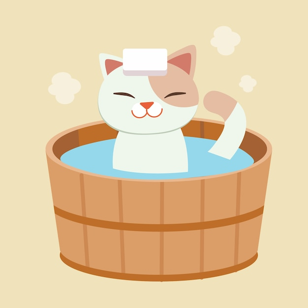 The character of cute cat take a japanese hot spring bath. the cat taking a onsen. it look happy and relaxing. cat bathing in a barrel in an bath outdoor. Premium Vector