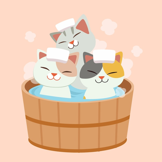 The character of cute cat take a japanese hot spring bath. the cat taking a onsen. it look happy and relaxing Premium Vector
