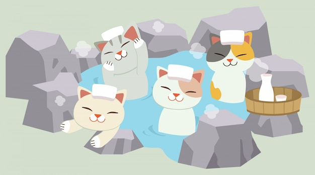 The character of cute cat take a japanese hot spring bath. the cat taking an onsen. it look happy and relaxing Premium Vector