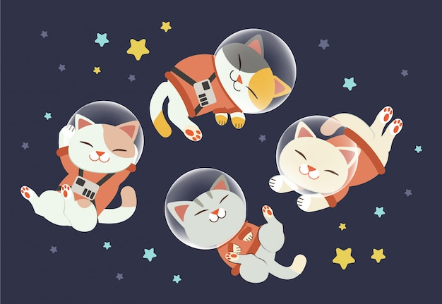 The character of cute cat wear a space suit with friends Premium Vector