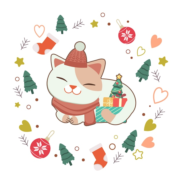 The character of cute cat with gift box and little christmas tree on white  with star and heart. the character of cute cat in flat  style. Premium Vector