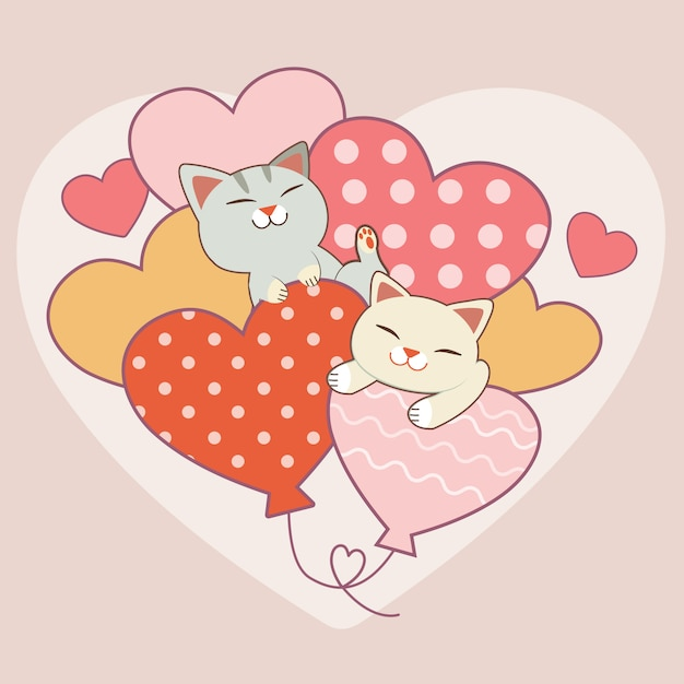 The character of cute cat with heart balloon, the couple in love of cute cat with a lot of heart balloon. Premium Vector