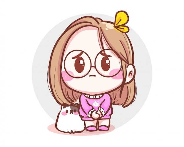 Character of cute girl and little cat feeling sorry and apologize  on white background with mistake or forgiveness. Premium Vector