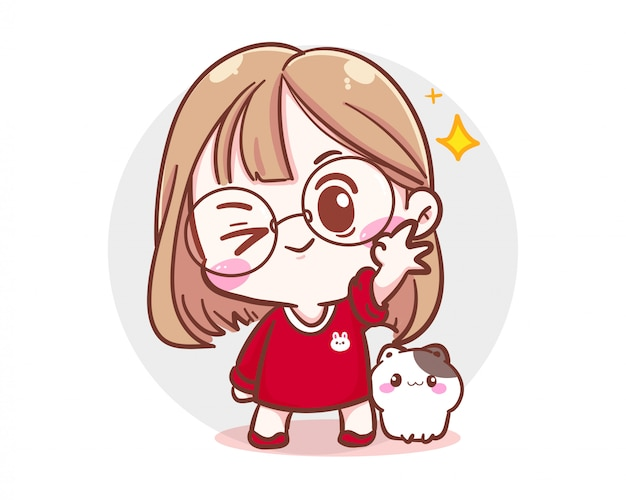 Character of cute girl and little cat showing ok hand sign  on white background with happy time and cheerful mood. Premium Vector