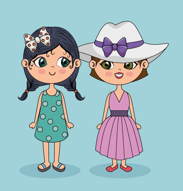 Character cute girls posing Free Vector