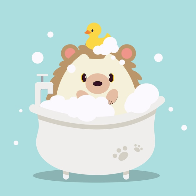 The character of cute hedgehog bathing in the bathtub with bubble. on the cute hedgehog have a duck rubber. Premium Vector