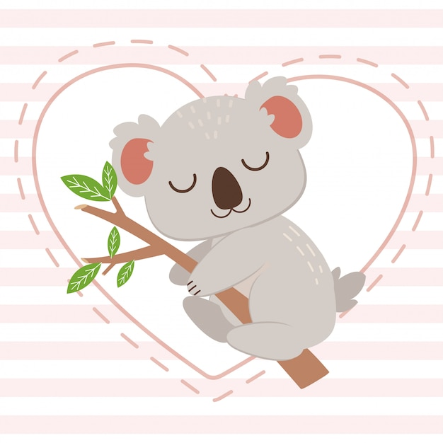 The character of cute koala hugging the tree branch on the white heart on the pink background. the character of cute koala sleepping with tree branch. the character of cute koala in flat  style. Premium Vector