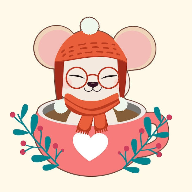 The character of cute mouse sitting in the cup in christmas theme. Premium Vector