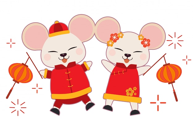 The character of cute mouse wear chinese suit and dacing on the white background. Premium Vector