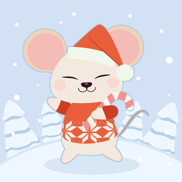 The character of cute mouse wear a winter hat and red sweater Premium Vector